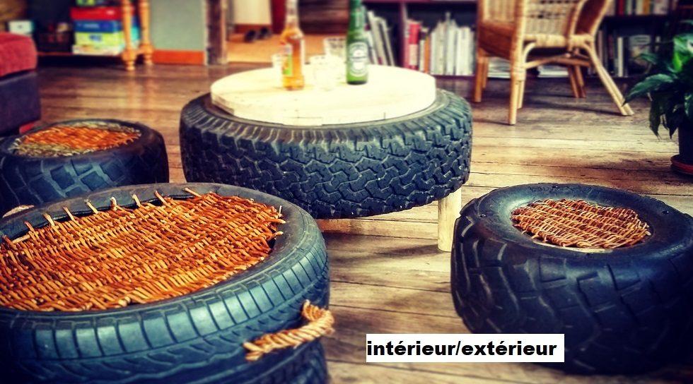 pneu, osier, design intérieur, recyclage